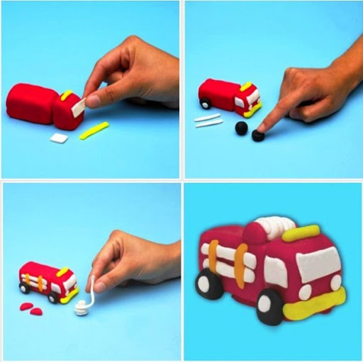 Как слепить пожарную машину из пластилина